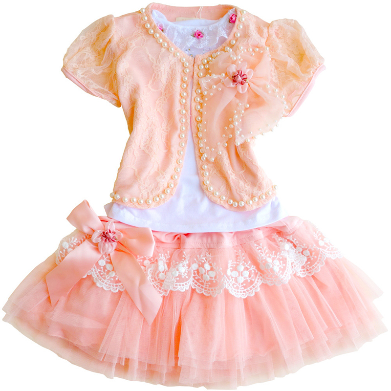 Summer Floral Girls Dress Set Lace Coat+Halter Shirt+princess Skirt 3pce Tutu for Children Party Clothing 4y-10y<br>