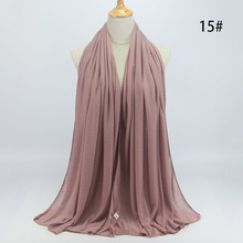 2016 New Winter Jersey Scarf Cotton Modal Scarf Muslim Hijab Long Solid Viscose Islamic Scarves For Women Plain Hijabs MSL016(China)