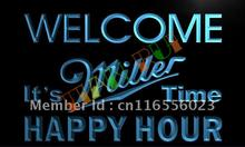 LA646- Welcome Miller Time Happy Hour Bar  LED Neon Light Sign