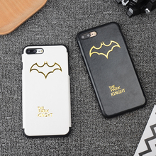 Simple Gilding Bat Cortex Cases for iPhone 6 6s 6plus 7 7Plus funfas cases PU Leather Silicone soft phone bags black white cover