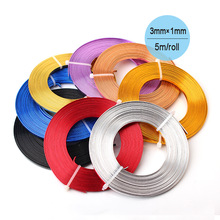 Flat Anodized Aluminum Wire Gold Silver Blue Red Black Purple Coffee Copper Plated Soft 3mmx1mm 5m/coil Craft Aluminium Wire