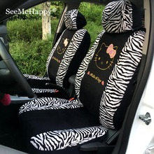zebra styling Universal Hello Kitty Car Seat Covers winter short plush car pad seat cover car interior Accessories for5seats car(China)