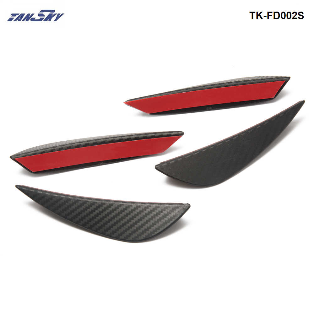 TANSKY - 4Pcs Carbon Fiber Style Front Bumber Lip Diffuser Splitter Fins Body Spoiler Canards Valence TK-FD002S