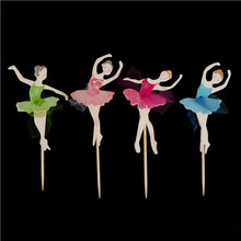 Cupcake Topper Birthday-Party-Decorations Ballerina-Fairy Insert-Card Picks Happy-Birthday