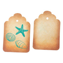 "Price Tag Garment Tag Paper Price Marking Labels Smoke yellow Starfish Shell 5.7cm x3.8cm(2 2/8"" x1 4/8""),100 PCs 2015 new"