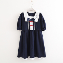 Cat embroidery bow stitch drawstring sailor collar dress kitty kawaii