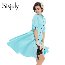 Sisjuly vintage dress 1950s style turquoise button a line collar summer women party sexy elegant beauty new vintage girl dresses