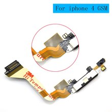 For iPhone 4 GSM A1332 Dock Charging Port Connector Flex Cable Repair Part , Black Color, free shipping
