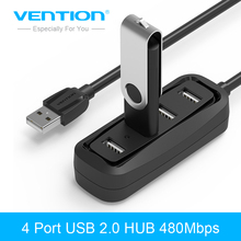 Vention 4 Port USB HUB 2.0 Portable OTG HUB 480Mbps USB Splitter with LED Lamp for Apple Macbook Air Laptop PC Tablet(China)