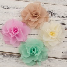 "1PC 2.6"" 20 Colors Soft Chic Chiffon Hair Ties Flower Clips For Kids Girl Hair Accessories Craft Fabric Flowers For DIY Headband"