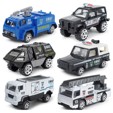 6pcs/set boys fire truck military Policy car 1:87 alloy Alloy metal car Baby Diecasts Toy Vehicles model toys for children LF775