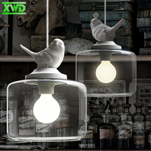 Modern Glass Birds Pendant Lamp E27 Lamp Holder 110-240V Coffee House/Dining Hall/Foyer Indoor Lighting Free Shipping DY51(China)