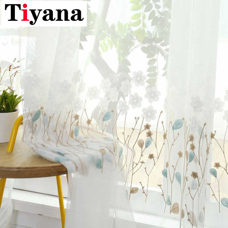 American Style White Sheer Tulle Curtain For Living Room Rustic Embroidered Flower Voile Curtain For Kitchen Balcony HP047D3