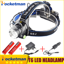cree headlight led headlamp xm l t6 waterproof zoom head lamp 18650 rechargeable battery flashlight head torch Lights(China)