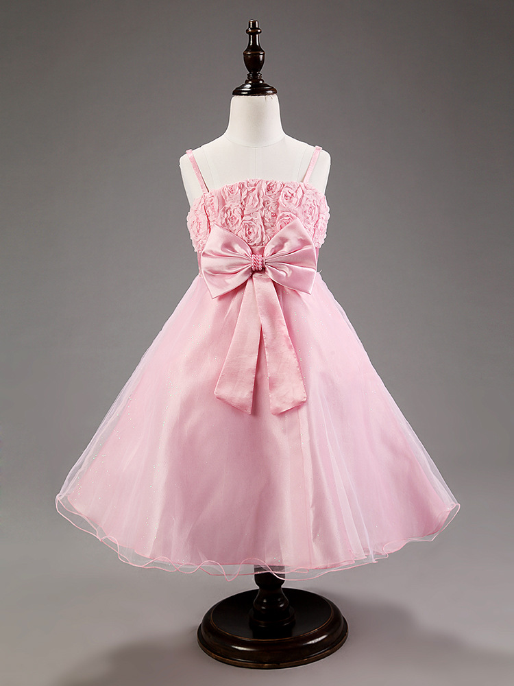 Fashion beaded 3D bandage kids cocktail blush pink flower girl dress for weddings 2016<br><br>Aliexpress