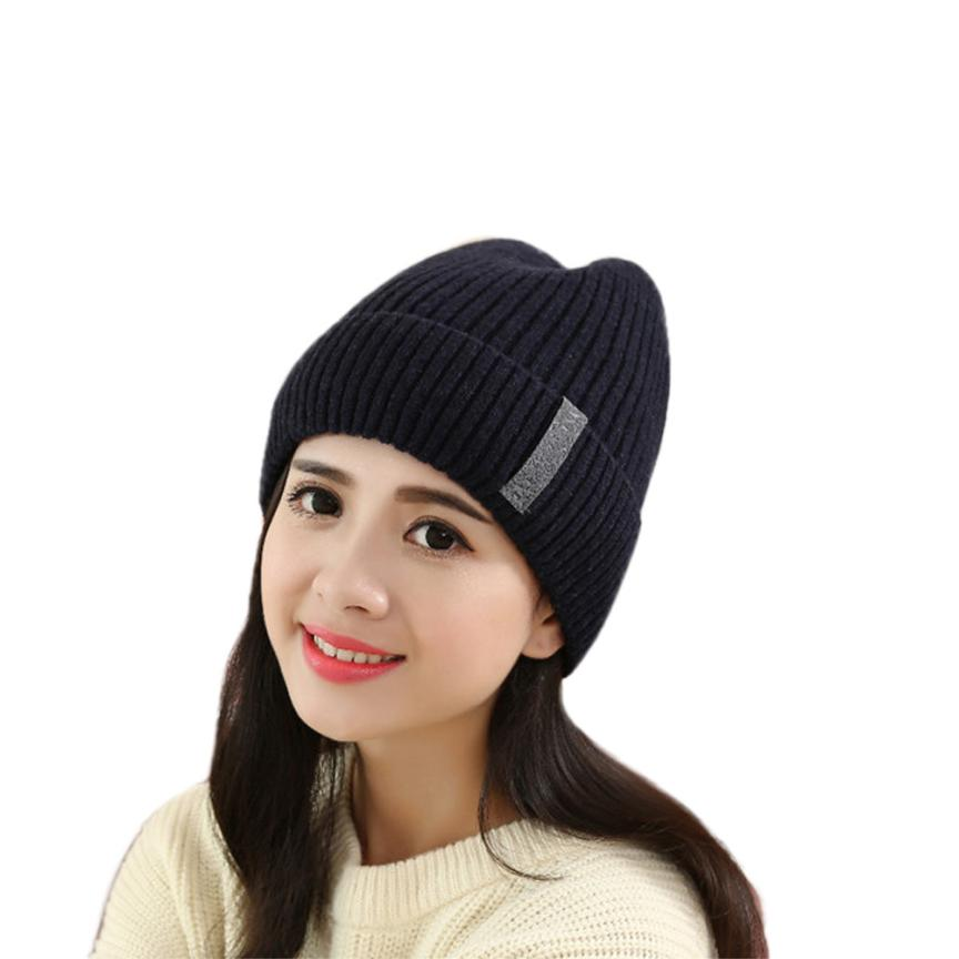 Winter Women Knitted Beanie Cap Keep Warm Hats Gorro Amazing Sep 2016 NewÎäåæäà è àêñåññóàðû<br><br><br>Aliexpress