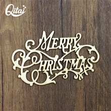 QITAI 12Pcs/Lot Merry Christmas Wooden Decoration Wood Crafts Table/Door Decorations Holiday supplies wf272