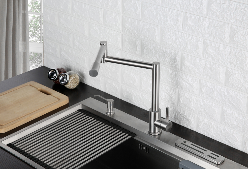 Folding Kitchen Faucet Stretchable Swing Arm Brushed  Single Hole Single Handle Deck Mounted Cold & Hot Kitchen Sink Faucet  (5)