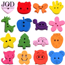 Kindergarten Children Wood Button DIY Cartoon Animals Buckle Baby Sweater Decoration Knot Clothes Cute Kids Jacket Natural Color(China)