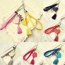 1PCS Creative Tassel Hot Pop Random Color Lanyard Charm Mobile Phone Pendant PU Leather Love Camera Strap(China)