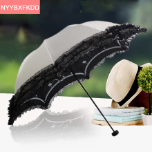 2017 new princess lace umbrella brand UV adult ultralight dual folding umbrella parasol lace sun umbrella rain women(China)