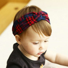 Fashion Turban Headbands Kids Red and Black Wide Lattice Head Wrap Toddlers Scotland head hoop Grid stripe Hair Accessories D59