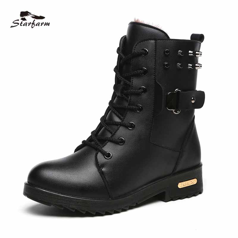 2017 Winter Women Martin Boots dr Riding Low Heel Platform Shoes Lace Up TPU Sole Black Boots SF1708<br>
