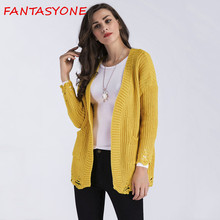 FANTASYONE Yellow White 2017 Winter Womens Knitted Outwear Coat Lady Girl Long Sleeve Sweater Cardigan Warm Women Oversized Tops(China)