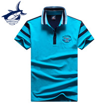 Tace Shark Solid Polo Shirt 2017 New Cotton Short Sleeve Striped Polo Homme Slim Fit Turn Down Collar Men Polo Shirt Shark logo(China)