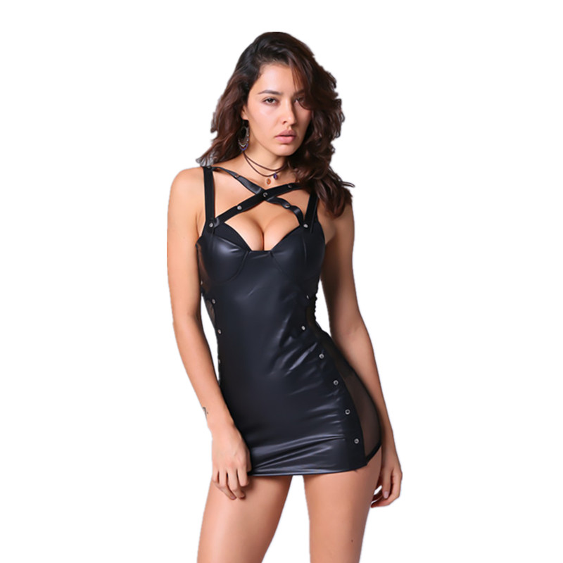 Hot Sexy Lingerie Black Latex Pvc Party Dress Leather Latex Lingerie Sexy Hot Erotic Club Dress Women Costume Erotic Catsuit New 4