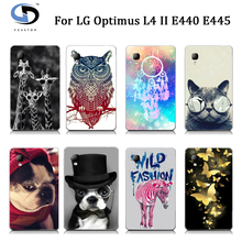 Cute Animal Cartoon Owl Cat Horse Dog Painted White Hard Case For LG Optimus L4 II E440 E445 Phone Cover Cases