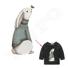 Iron On Patches 21*10cm Personalized Rabbit Heat Transfer Ironing Stickers DIY Accessory East Print On Clothing(China)