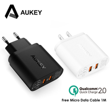 Aukey 36W 2 Port USB Charger Quick Charger 2.0 Travel Wall Charger Adapter For iphone8 X/7/6s Xiaomi Redmi Note 4x Samsung&More(China)