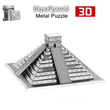 Nanyuan 3D Metal Puzzle of Maya Pyramid Silver Assembled Model Metal Craft 3D Miniature Puzzle Jigsaw for Home Artwork Kids Toys