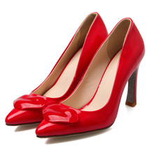 Spring 2016 new Korean shaped with shallow mouth single toe head high-heeled patent leather shoes fashion red lips SM-3P050B