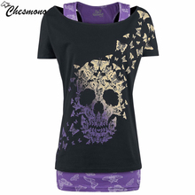 Buy chesmono 2017 New Skull head T-Shirt Women Top Tees Short Sleeve T Shirt Womens Clothing Casual Tshirt tops Summer Blusa for $12.26 in AliExpress store