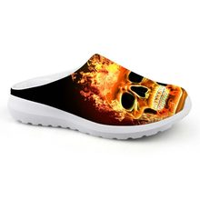 Customized Men Casual Beach Sandals Fire Flame Skull Print Water Shoes  House Slippers Boys Mesh Slip 4d4e8d25256e