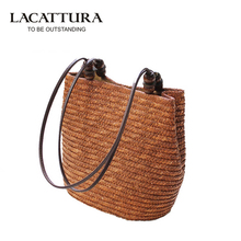 LACATTURA Vintage Women Handbag Fashion Shopping Tote Beach Bag Vintage Casual Bucket Straw Tote Bag Summer Shoulder Bag