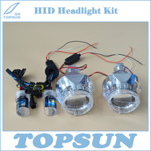 Free Shipping Car Lamp Retrofit Kit 55W H1 HID Bulb, Light Guide Angel eyes, WST 2.5 inch Projector Lens and Cover(China)