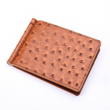 Slim Ostrich pattern leather Men's money clip wallet with 4 card slots metal clamp purse(China)