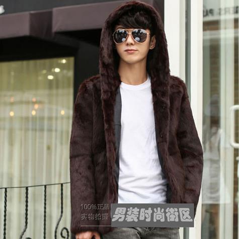 Mens Faux Fur Coats 2017 new arrival long sleeve Faux Mink Coat Men Hooded Winter Jacket rabbit fur thicken warm jackets WR643