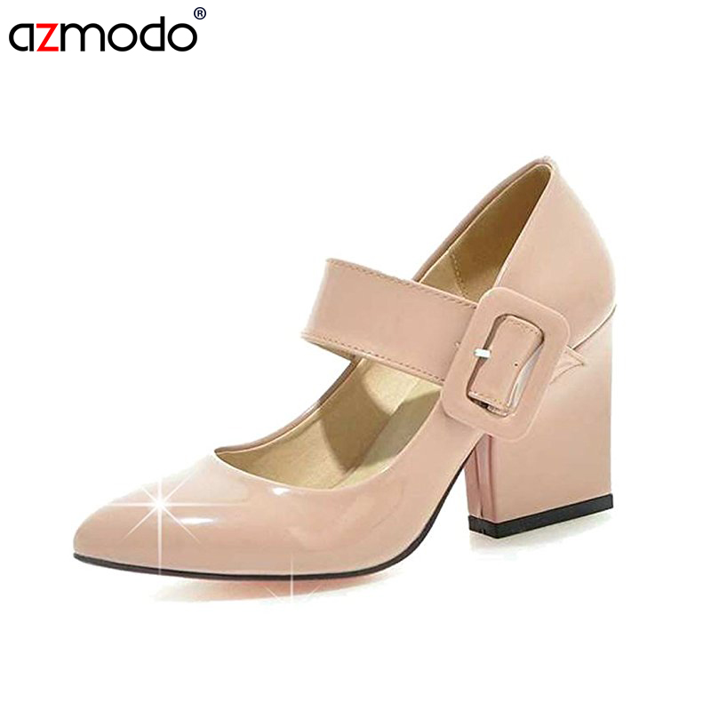 Spring And Autumn Women Shoes Pump Japanned Leather Single Female Sweet White Pointed Toe Fashion High-Heeled Thick Heel Vintage<br>