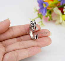 1Piece Vintage Boho Brass Knuckle Pomeranian Puppy Dog Anel Ring Boho Animal Anillos Couple Love Rings For Women Men Jewelry