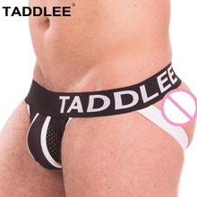 Buy Taddlee Brand Sexy Jocks Underwear Men Jockstraps Briefs Boxer Bikini Low Rise Mesh Gay Penis Pouch WJ Buttocks Solid G-stringes