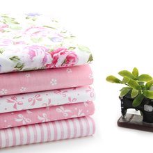 Pink Floral  Patchwork Cotton Fabric Textile Sewing Patchwork Quilting Fabric Bundle For Bag Hat Doll Cloth JH-5