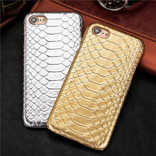Snake Skin Pattern Back Cover Leather Protect Cell Phone Case For iPhone 5 5S SE 6 6S plus 6Plus 7 7Plus 8 8Plus X case coque(China)
