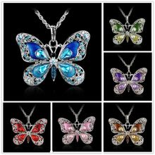 Buy Rinhoo Beautiful Rhinestone Long Butterfly Necklaces 6 colors Pendant Necklace Women Necklace Pendants Silver Jewelry for $1.25 in AliExpress store