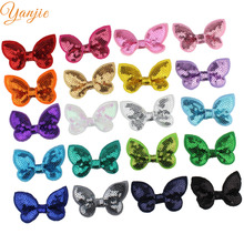 "100pcs/lot 2"" Mini Glitter Sequin Hairbows WITHOUT Hair Clips For Girls And Kids DIY Hair Bow Headband Girls Hair Accessories"