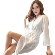 Summer Dress waffle robes Man Woman cotton Bathrobe Towel Nightgown Women's Pajamas Sexy Quick Drying Lovers Bathrobe Dress(China)
