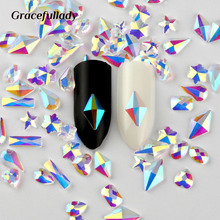 36 pcs New Nail Rhinestone Transparent Flat Back Snow&Drop Shape Crystal Stone DIY Manicure Nail Art 3D Decoration Design(China)